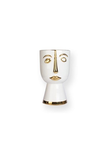 Sembol Seramik Gold-Beyaz Ayaklı Vazo 30 Cm Renkli
